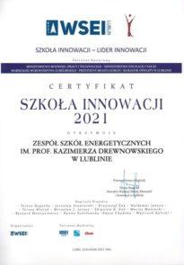 Certyfikat Szkoła Innowacji 2021