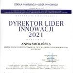Dyplom Dyrektor Lider Innowacji 2021