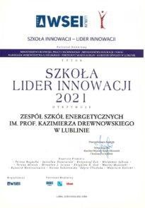 Dyplom Szkoła Lider Innowacji 2021